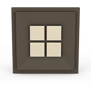 方形拼图玻璃门把手3d模型