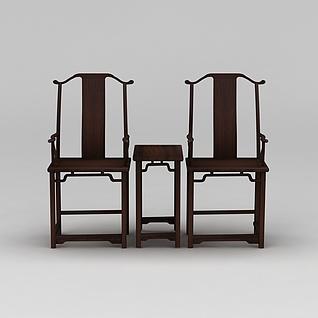 中式南宫椅三件套3d模型3d模型