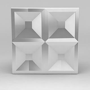 方形不锈刚门把手3d模型