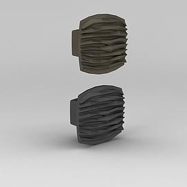 创意波纹门拉手3d模型