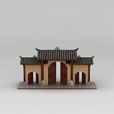 川西风格的门头3D模型3d模型