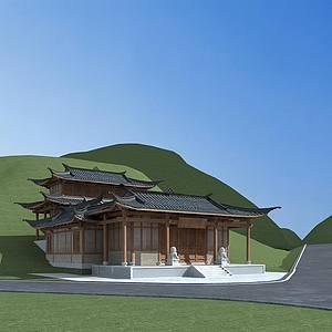 中國寺廟建筑模型3d模型
