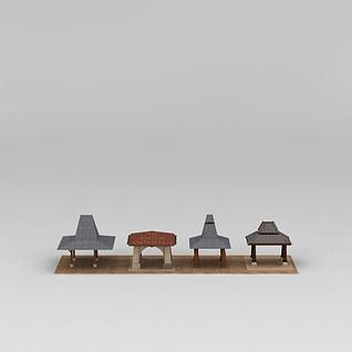 东南亚亭风格凉亭3d模型