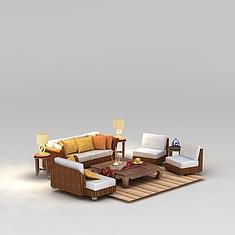 东南亚藤编沙发茶几3D模型3d模型