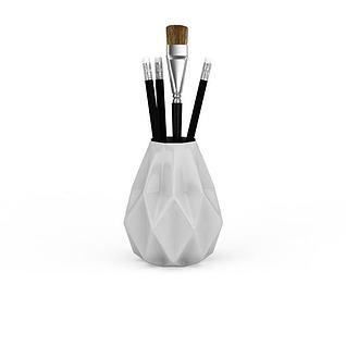 白色笔筒3d模型