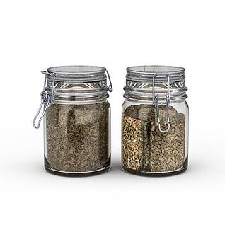 玻璃密封杂粮罐3d模型