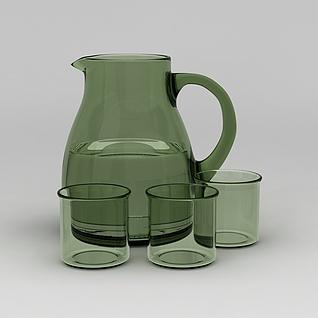 玻璃凉水壶套装3d模型