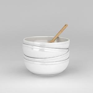 白色陶瓷餐具碗模型