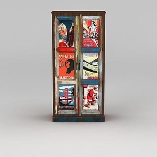 实木仿旧柜子3d模型3d模型