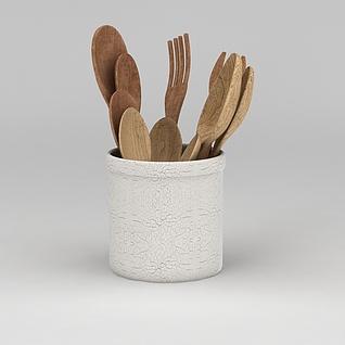 现代木质餐具3d模型