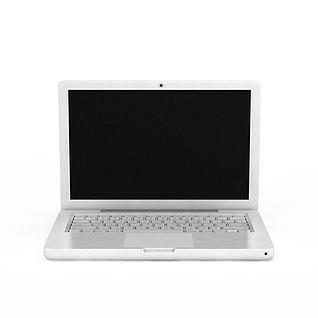 白色笔记本电脑3d模型