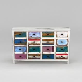 现代彩色多屉边柜3d模型3d模型