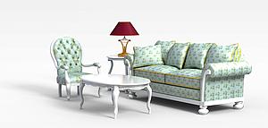 3d欧式<font class='myIsRed'>田园沙发</font>茶几模型