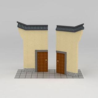 南方园林小品门楼3d模型