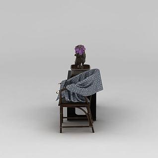 中式盆景饰品3d模型