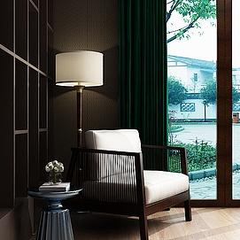 中式阳台沙发椅茶几组合模型