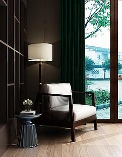 中式阳台沙发椅茶几组合3d模型