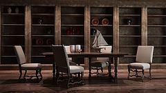 工业风置物架餐桌椅组合模型3d模型