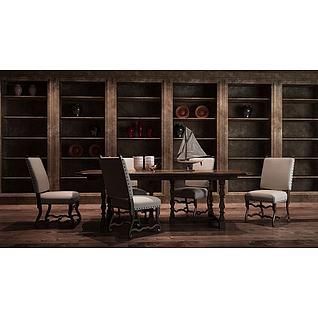 工业风置物架餐桌椅组合3d模型