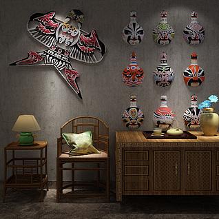 中式风筝脸谱椅子边柜组合3d模型