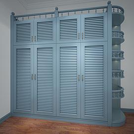 3d男孩房美式百叶衣柜模型