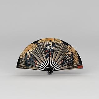 日式贴画装饰扇子3d模型