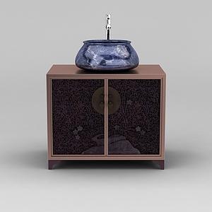 现代新中式洗手台模型