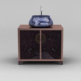 现代新中式洗手台3d模型