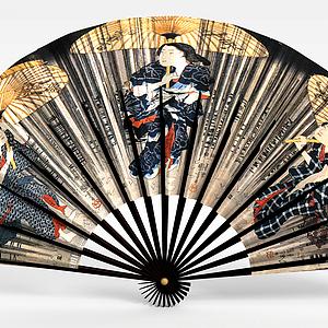 日式貼畫裝飾扇子模型3d模型