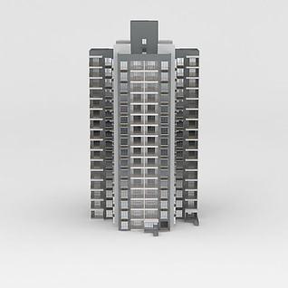 现代高层住宅楼3d模型