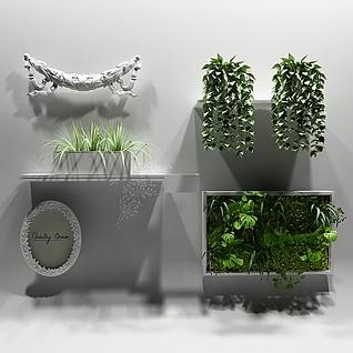绿植墙饰植物3d模型