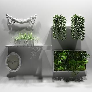 绿植墙饰<font class='myIsRed'>植物</font>3d模型