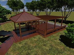 实木廊架凉亭休息亭模型3d模型