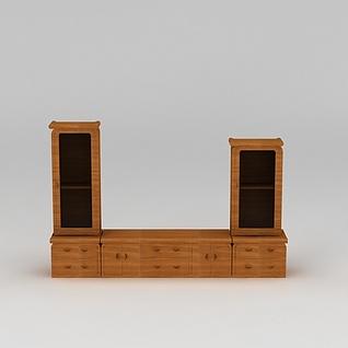 中式实木电视柜3d模型