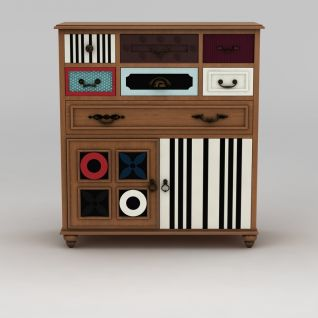 创意印花边柜屉柜3d模型3d模型