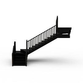 3d黑色<font class='myIsRed'>旋转楼梯</font>模型