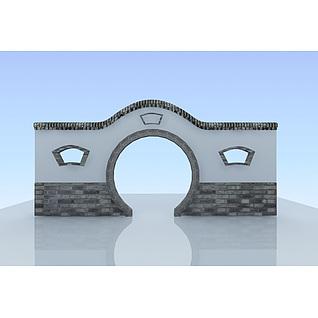 江南园林月亮门3d模型