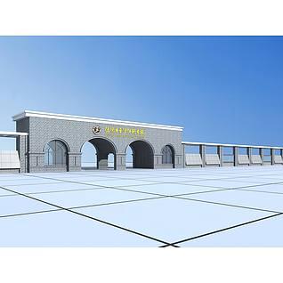 学校石拱大门3d模型