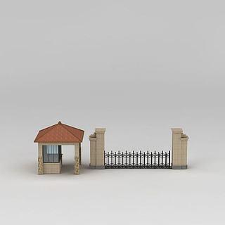 学校大门门卫房3d模型