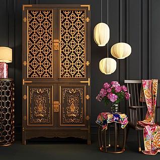 现代中式雕花木柜3d模型