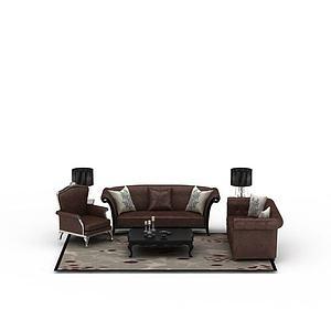 3d欧式咖啡色<font class='myIsRed'>皮质沙发</font>茶几组合模型