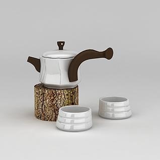 茶壶茶杯套装3d模型