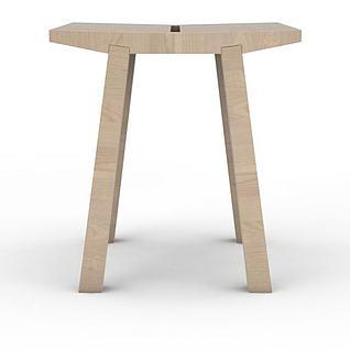 现代简约木凳3d模型