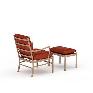 中式沙发椅3d模型