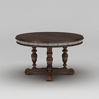 欧式时尚实木圆桌3d模型