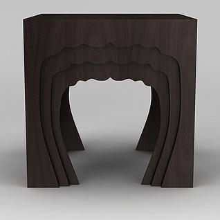 现代时尚实木凳子3d模型3d模型