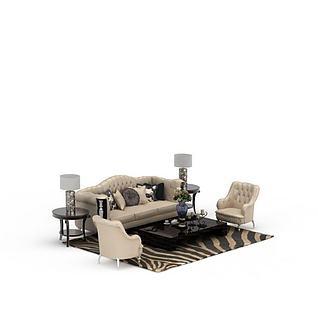 欧式豪华真皮沙发组合3d模型3d模型