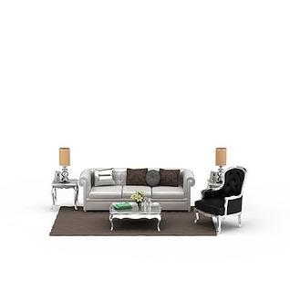 欧式家装沙发茶几组合3d模型3d模型