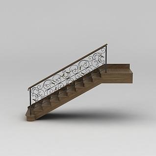 欧式室内实木楼梯3d模型