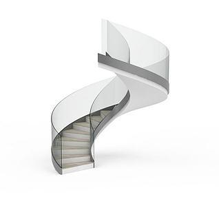现代简约螺旋楼梯3d模型